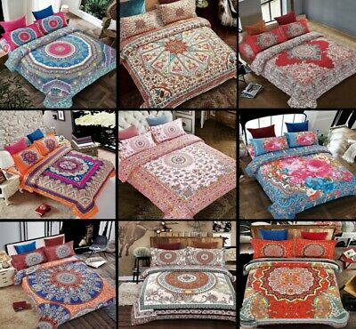Bedding Set 3 Piece Quilt Cover Bohemia Traditional Duvet Cover Set Double King