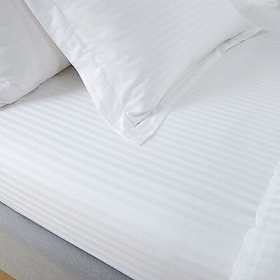 100% Egyptian Cotton Sateen 300Tc White Satin Stripe Fitted Sheet Hotel Quality