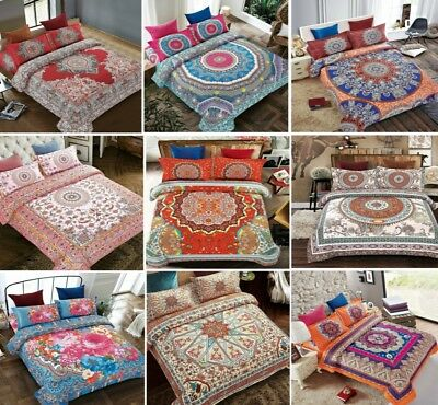4Pcs Complete Bedding Vintage Bohemian Quilt Duvet Cover Fitted Sheet Pillowcase