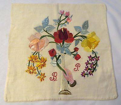 Vintage Silk Embroidery PIllow Sham Cover Monogram Antique