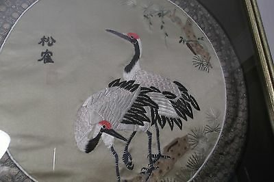 Framed Round Asian Silk Embroidered Print Tropical Birds w/ red heads long legs