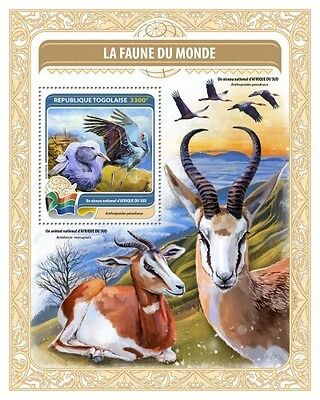 Z08 IMPERFORATED TG16419b TOGO 2016 National bird of Central Africa MNH