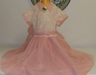 VINTAGE 1950s  GIRLS PINK ORGANDY AND LACE BEAUTIFUL PARTY DRESS