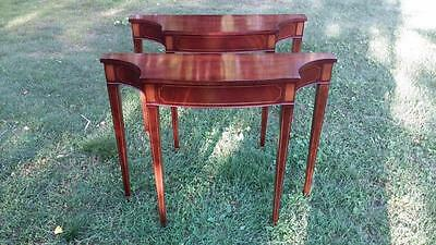 Pair Mahogany Federal Style Stenciled Console Wall Tables English Provincial