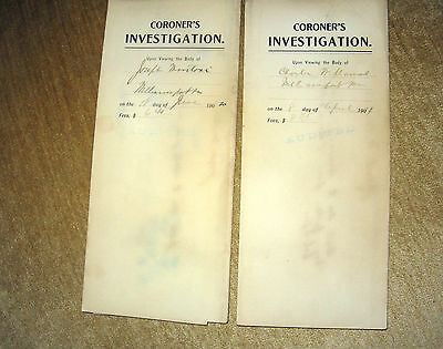 Medical Paper   1910 AND 1911, Two  INVESTIGATION Coroner's DEATH DOCUMENT'S