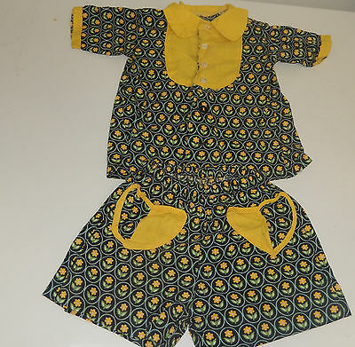 Vintage 1930S Feedsack Print Little Girls Two Piece Summer Dress Outfit