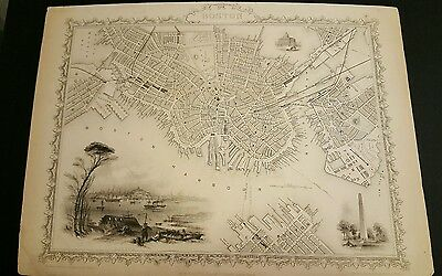1850's BOSTON CITY MAP by John Tallis and Co. Original