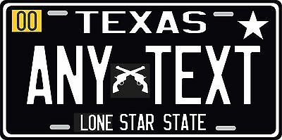 Texas License Plate Personalized Custom Auto Car Bike Bicycle Tag, CROSS PISTOLS