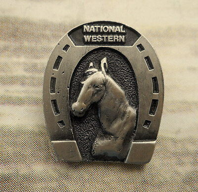 1984 National Western Hat Lapel Pin Horse Horseshoe Limited Edition Adezy Denver