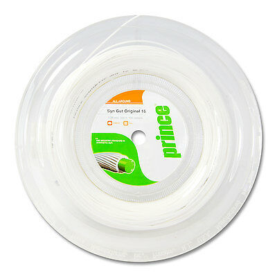 Prince Synthetic Gut ORIGINAL 1.30mm 16 Tennis String 100M Reel - White