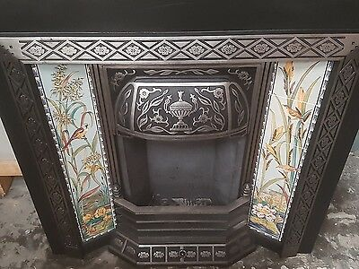 victorian fireplace cast tiled insert with stovax tiles