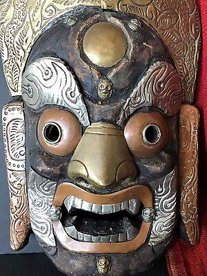 Old Tibetan Carved Wooden Inlaid Mask …beautifully inlaid with brass, copper, &.