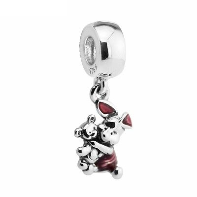 S925 Sterling Silver European Piglet Teddy from Winnie Pooh Charm Bead