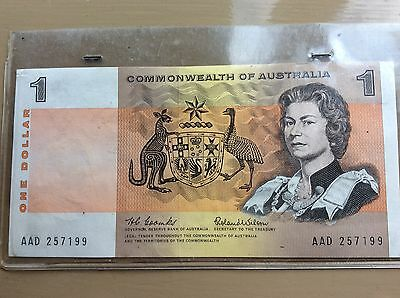 Australian 1966 One Dollar Note UNC Sealed, Combes/Wilson AAD257199