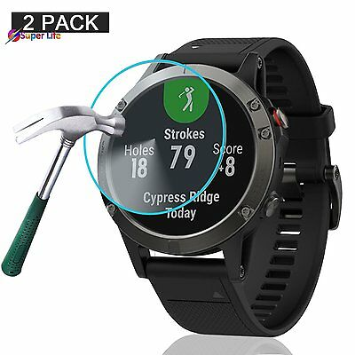 2 Pack Garmin Fenix 5 Screen Protector Full Coverage Tempered Glass Clear Film