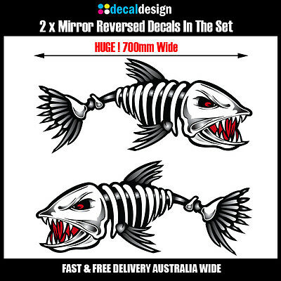 Skeleton Fish Boat Decals x 2 HUGE 70cm Wide stickers fishing tackle graphics