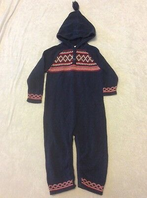 Hanna Andersson Sweater Romper 90 Boy Girl Outfit Navy Red Nordic Hoodie Design