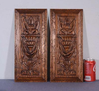 *French Antique Carved Architectural Panels in Oak Wood with Louis XVI Urn
