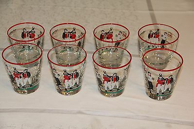 8 Art Deco Libbey Pickwick Dickens Old Fashioned Glass Set