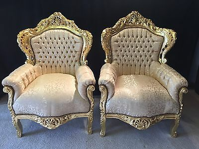 3 Sensational French Louis Xvi Style Gold Leaf Chairs