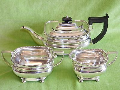 Superb 1926 3 pce Solid Silver Tea Set 1.21kg Roberts & Belk - Art Deco Features