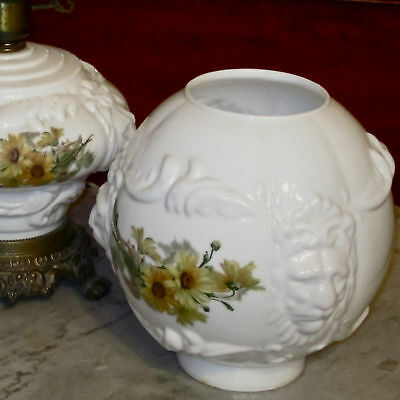 Vintage Victorian Lion Head Glass GWTW Oil Kerosene Electric Lamp Floral Shades