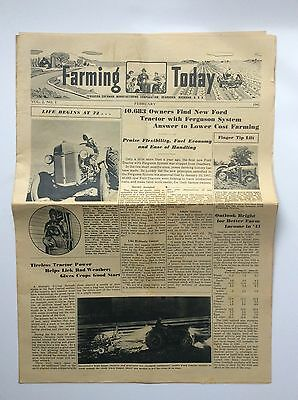 Original 1941 FARMING TODAY Newspaper- Early 9N Ford Tractor- Soybean Seat