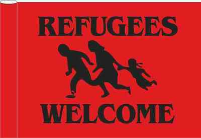 Refugees Welcome Flagge Rot