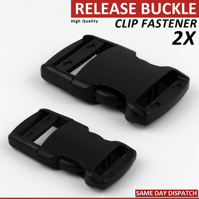 2 RELEASE BUCKLE PLASTIC FASTENER BACKPACK SIDE RELEASE CLIP WEBBING 25 mm STRAP