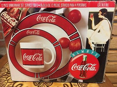NIB Coca Cola Gibson  Dinnerware Plate Bowl Cup 12 Pc Dish Set Coke 1996