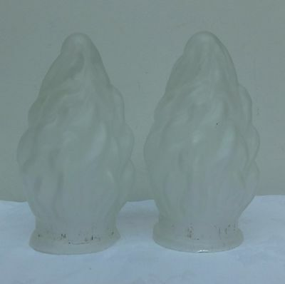 2 x Art Deco Statue of Liberty Glass Shade Frosted Antique Vintage