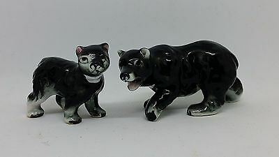 Miniature Porcelain Black & White Bear Momma Baby Cub Animal Collectible Figures