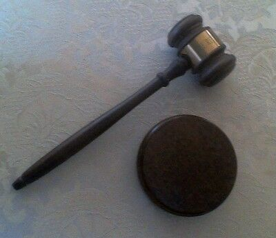 """Gavel and Sounding Block Set, Inscribed: """"The Retired Officers Association"""""""