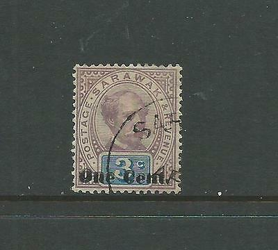 """Sarawak 1889-92 1c on 3c """"DOUBLE OPT"""" SG22a, v.f.cds used, Cat.£650"""