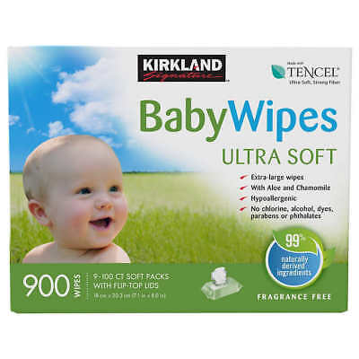 Kirkland Signature Baby Wipes 900-count 9 packs of 100 FREE SHIPPING