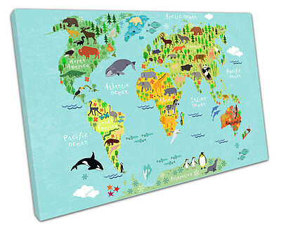 Animal World Map Canvas Wall Art Picture Large 75 X 50 Cm