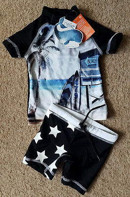 BNWT Next Baby Boys UV Sunsuit Sun Safe Swim Shorts & Top Outfit Set 3-6 Months