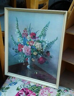 Vernon Ward Framed Print bouquet vintage floral shabby chic rare old kitsch