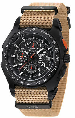 KHS Tactical Mens Wristwatch Analog Chronograph C1-Lights Date Army Strap Tan