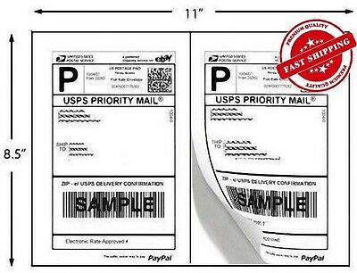 1000 Self Adhesive 5.5x8.5 Shipping Labels 2 Labels/Sheet