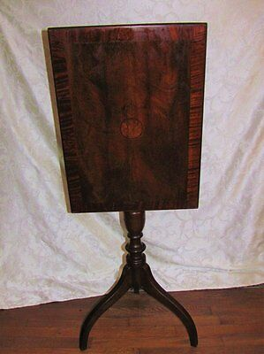 Antique American Federal Mahogany Tilt Top Candle Stand Circa 1790