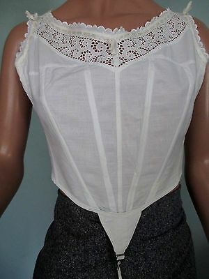 Antique Corset Cover Camisole Victorian Boned Eyelet Rear Closure