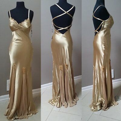 LaFemme gold retro 1930s Old Hollywood Glam inspired bombshell evening gown NWT