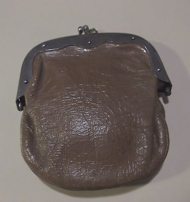 Vintage Mens Coin Purse SM Wallet Metal Leather Brown Accessory Change Man Women