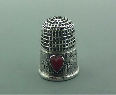 Antique  Sterling Silver Thimble Charles Horner Carnelian ? Heart 1904