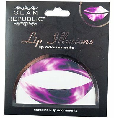 Glam Republic Lip Illusion Lip Appliques Tie Dye Purple Pack of 2 (p9f)