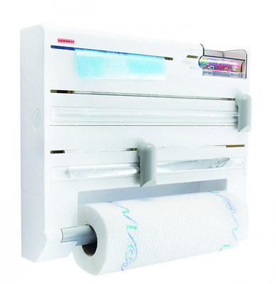 Kitchen Roll Holder Wall Mounted Foil, Cling Film, Paper Towel Dispenser - White