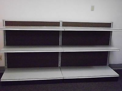Gondola Shelving 2 Sections 8 Feet Long with 6 Shelves Store Merchandise Display