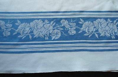 Early Vintage Damask Tablecloth Blue Orchids Stripes 75""
