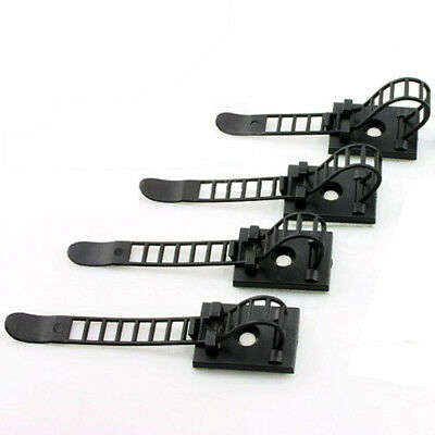 5Pcs Adjustable Adhesive Cable Straps Cord Management Tie Mount Clips Black 64mm